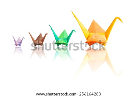 Origami birds family isolate on white - stock photo