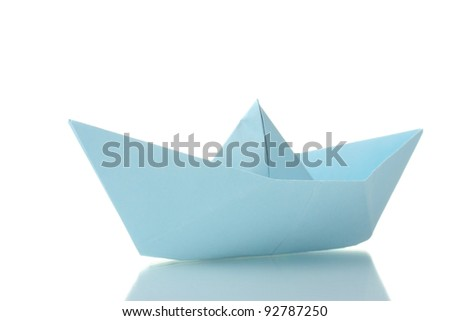 Origami boat out of the blue paper isolated on white - stock photo