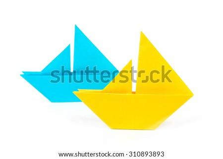 origami boats isolated - stock photo
