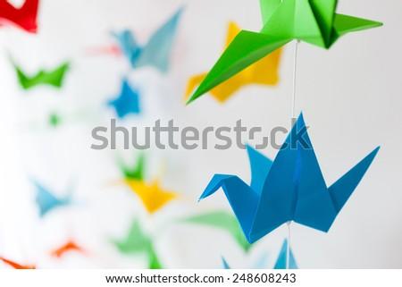 origami colorful birds - stock photo