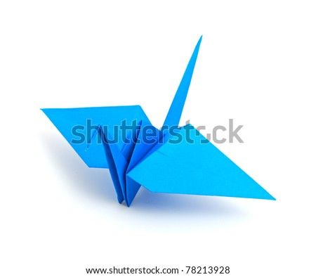 Origami crane isolated on a white background - stock photo