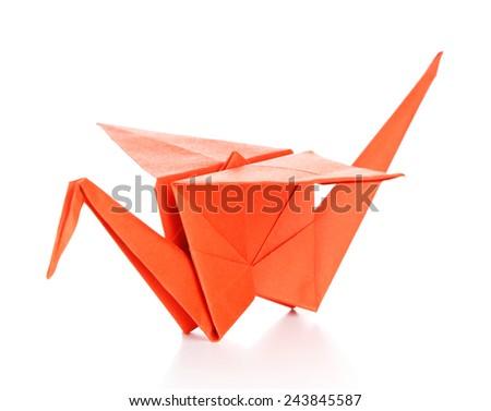 Origami crane, isolated on white - stock photo