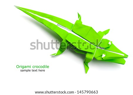 origami crocodile - stock photo