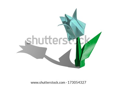 Origami cyan flower, tulip, isolated on white - stock photo