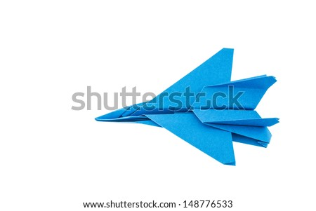 Origami F-15 Eagle Jet Fighter airplane isolated on white background - stock photo