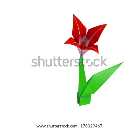 origami flower Red lily isolated on white - stock photo