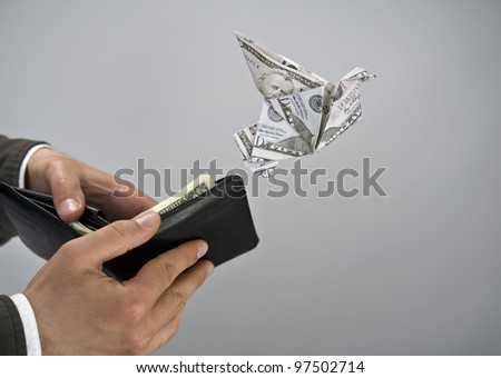 Origami flying bird - stock photo