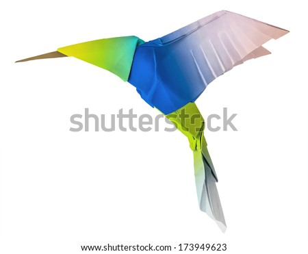 Origami flying humming-bird colibri bird on a whute background - stock photo