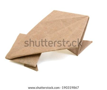 Origami frog isolated white - stock photo