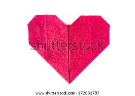 origami heart in isolated - stock photo