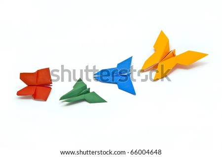 Origami Japanese paper butterflies - stock photo