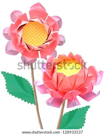 Origami lotus flowers - stock photo