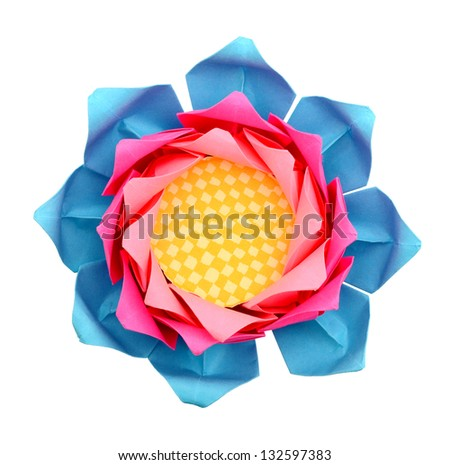 Origami lotus paper isolated white - stock photo