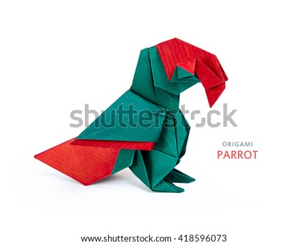 Origami macaw parrot sitting on a white background - stock photo