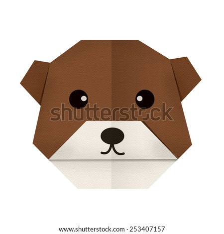 origami paper a bear (face) - stock photo