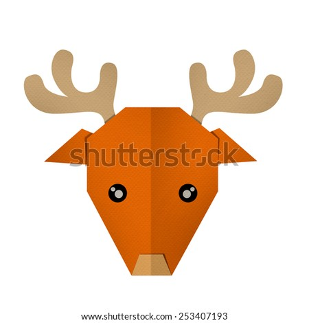 origami paper a deer (face) - stock photo