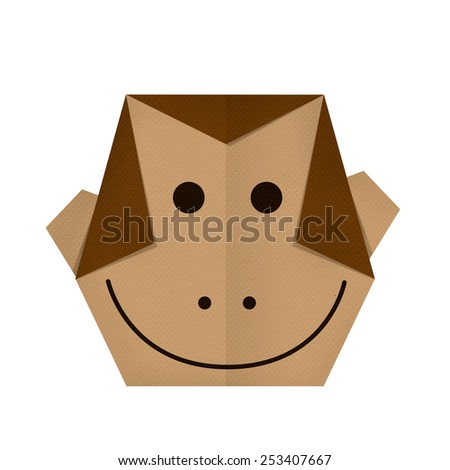 origami paper a monkey (face) - stock photo