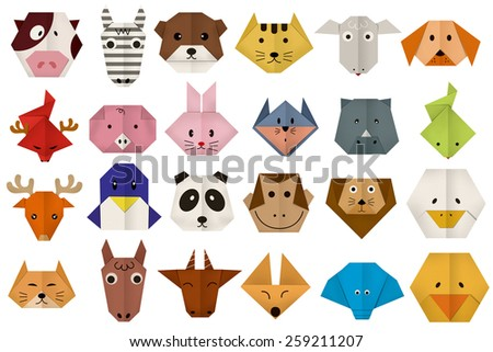 origami paper all animal face - stock photo