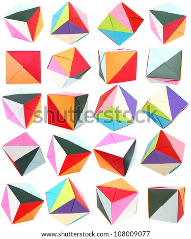 Origami paper cubes - stock photo