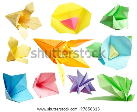 Origami paper flower collection isolated on white background - stock photo