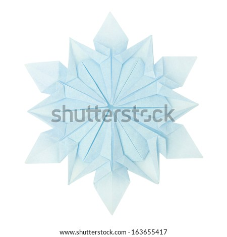 Origami paper fragility christmas winter cold blue snowflake on a white background - stock photo