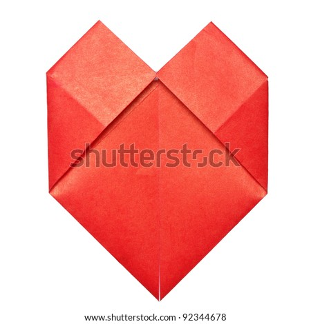 Origami paper heart isolated on white - stock photo