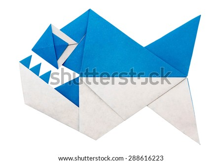 Origami paper piranha fish with teths on a white background - stock photo