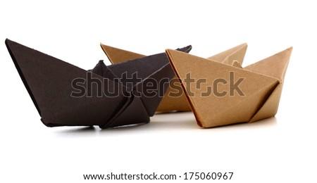 Origami paper ship - stock photo