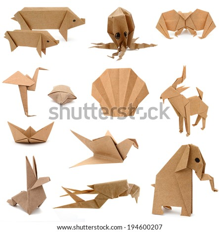 Origami papers isolated on white  - stock photo