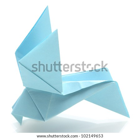 Origami pigeon out of the blue paper isolated on white - stock photo