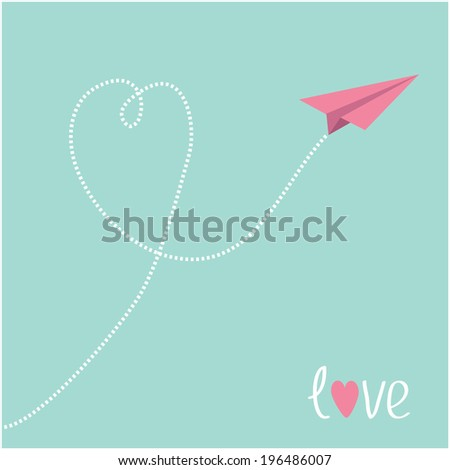 Origami pink paper plane. Dash heart in the blue  sky. Love card.   - stock photo