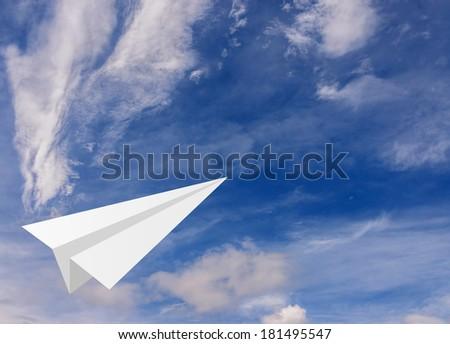 Origami plane in sky - stock photo