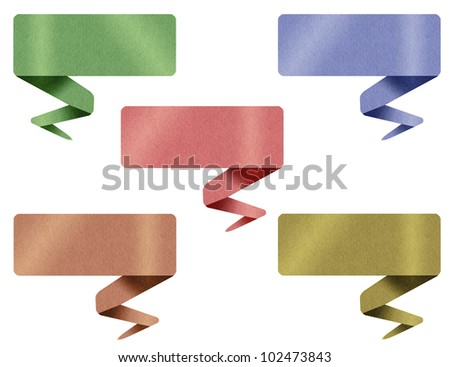 Origami tag from paper craft isolated on white - stock photo