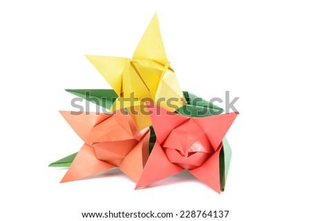 Origami tulip isolated over white background - stock photo