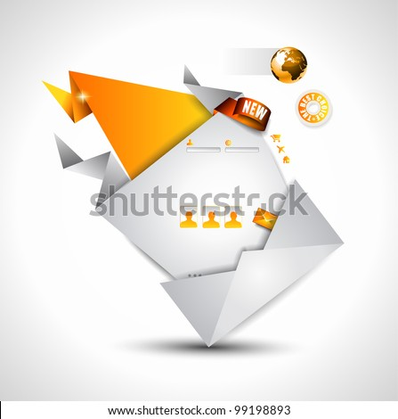 Origami Website - Elegant Design for Business Presentations. Template with a lot of design elements. Shadows are Transparent - stock photo