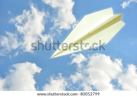 origamy paper air fly - stock photo