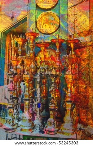 origianl oil painting of egypt cairo market place - stock photo