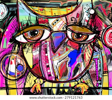 original abstract digital painting artwork of doodle owl, colored poster print pattern,  raster version - stock photo