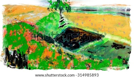 Original Abstract Landscape Painting in Yellow and Green - stock photo