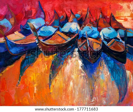 Original abstract oil painting of boats or gomdolas   and sea on canvas.Rich Golden Sunset over ocean.Modern Impressionism - stock photo