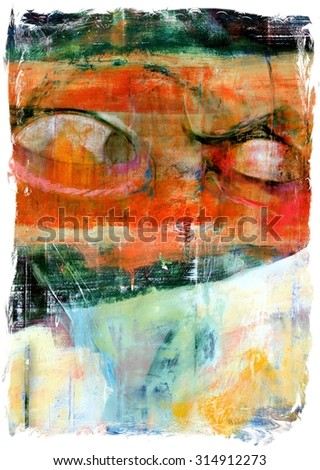 Original Abstract Painting Illustration with Angry Eyes Hatred Violence - stock photo