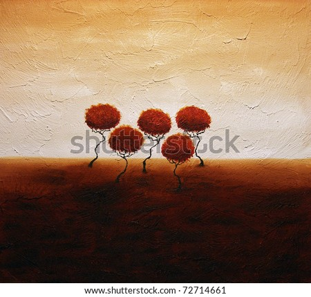 Original acrylic painting of small group of abstract trees in autumn. - stock photo