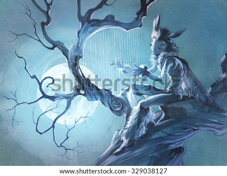 original acrylic painting on paper depicting a fantasy moth character in a mysterious place on a branch of a tree - stock photo