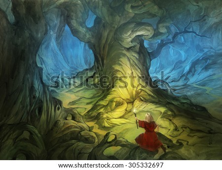 original acrylic painting on paper depicting a hero lost in a mysterious forest full of huge trees - stock photo