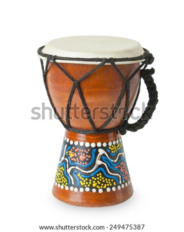 Original african djembe drum isolated on white background. - stock photo