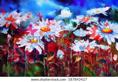 original art, fantasy illustration of butterflies on moonlit field of daisies - stock photo