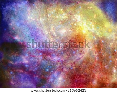 original art, watercolor on canvass of spiral galaxy - stock photo