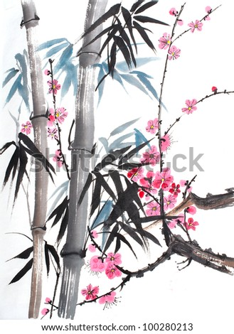 original art, watercolor painting in Chinese style, pink blossoms and bamboo - stock photo