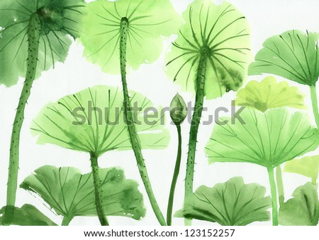 Original art, watercolor painting of green lotus leaves, Asian style painting - stock photo