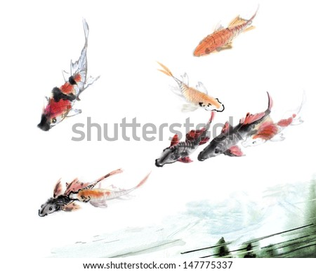 original art, watercolor painting of koi swimming - stock photo
